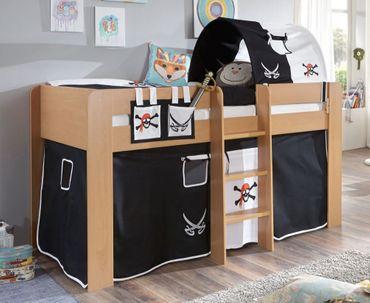 Hochbett ANDI 2 Kinderbett Spielbett halbhohes Bett Buche Stoffset Pirat