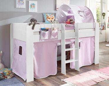 Hochbett ANDI 2 Kinderbett Spielbett halbhohes Bett Weiß Stoffset Lila/Weiß