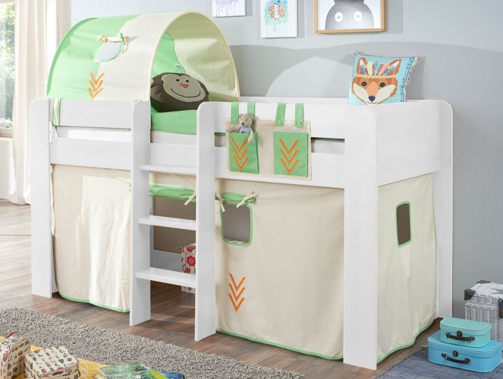 hochbett andi 2 kinderbett spielbett halbhohes bett wei stoffset indianer 4251418722626 ebay. Black Bedroom Furniture Sets. Home Design Ideas