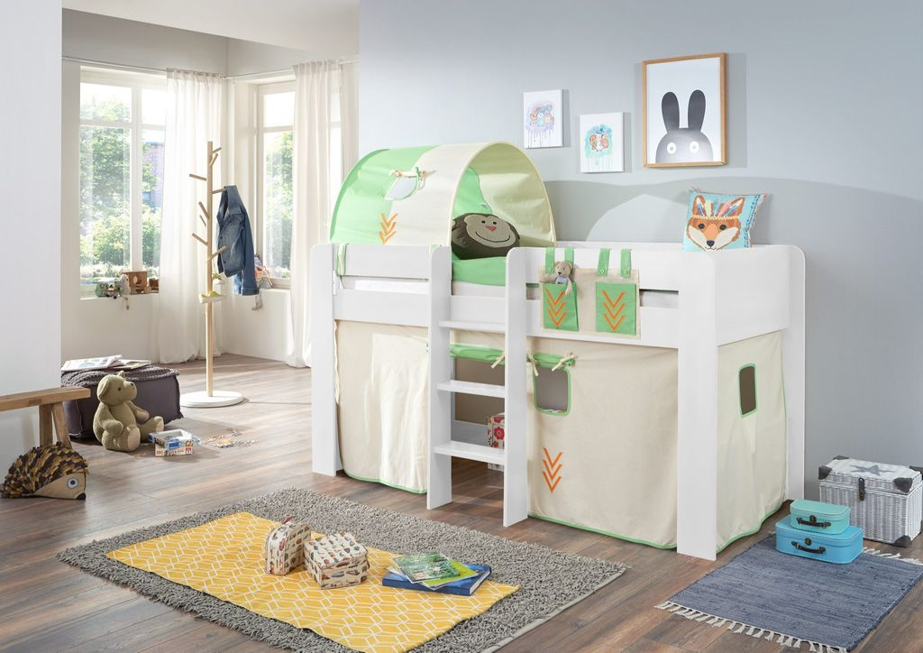 hochbett andi 2 kinderbett spielbett halbhohes bett wei. Black Bedroom Furniture Sets. Home Design Ideas