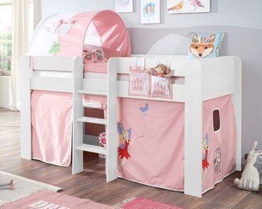 Hochbett ANDI 2 Kinderbett Spielbett halbhohes Bett Weiß Stoffset Prinzessin