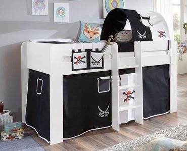 Hochbett ANDI 2 Kinderbett Spielbett halbhohes Bett Weiß Stoffset Pirat