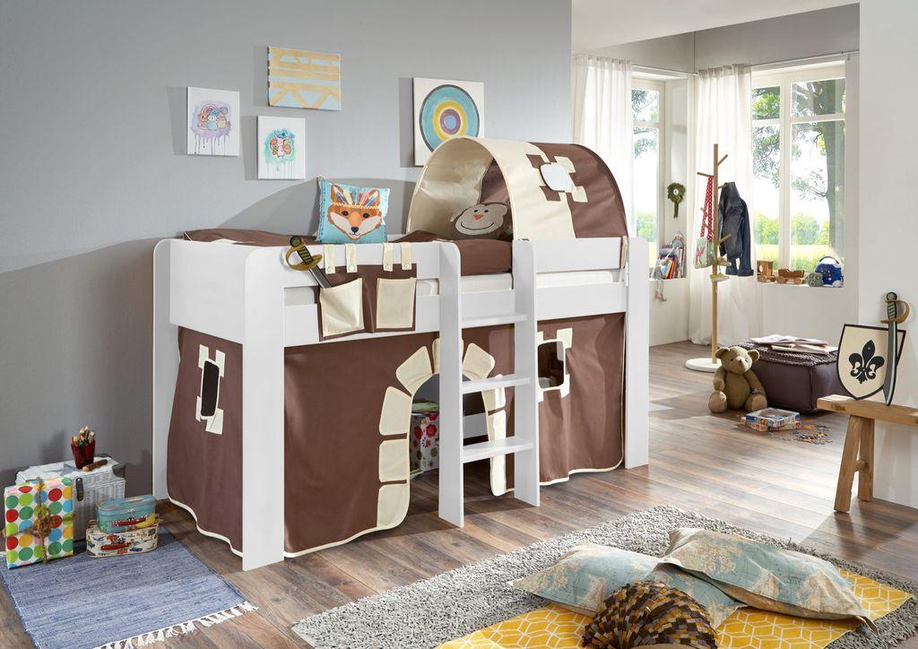 hochbett andi 2 kinderbett spielbett halbhohes bett wei stoffset burg kids teens betten. Black Bedroom Furniture Sets. Home Design Ideas