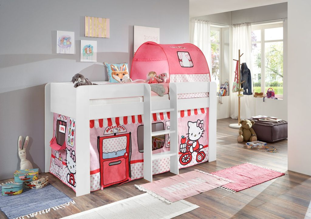 hochbett andi 3 kinderbett spielbett halbhohes bett wei. Black Bedroom Furniture Sets. Home Design Ideas
