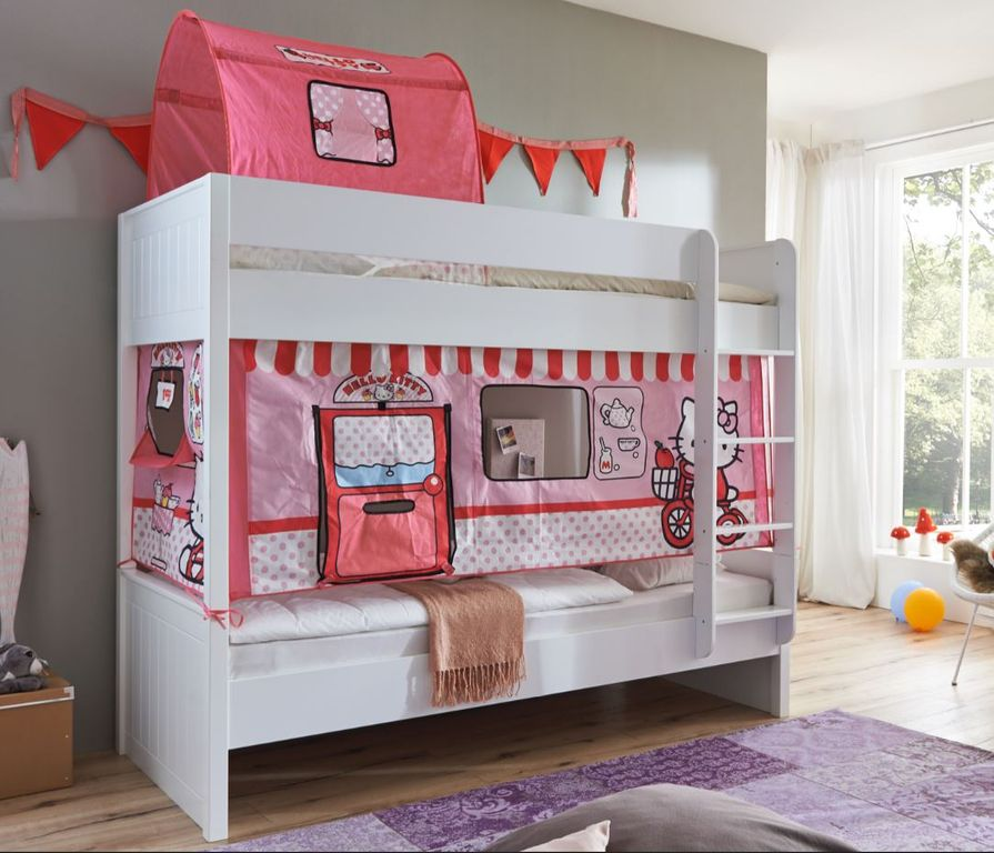 etagenbett luka 1 kinderbett spielbett hochbett wei stoffset hello kitty ebay. Black Bedroom Furniture Sets. Home Design Ideas