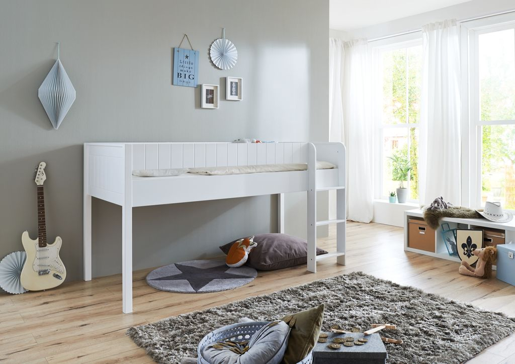 hochbett luka 3 kinderbett spielbett halbhohes bett wei kids teens betten etagenbetten. Black Bedroom Furniture Sets. Home Design Ideas