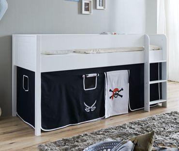 Hochbett LUKA 3 Kinderbett Spielbett halbhohes Bett Weiß Stoffset Pirat