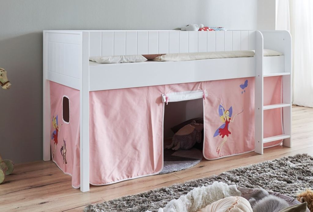 hochbett luka 3 kinderbett spielbett halbhohes bett wei stoffset prinzessin ebay. Black Bedroom Furniture Sets. Home Design Ideas