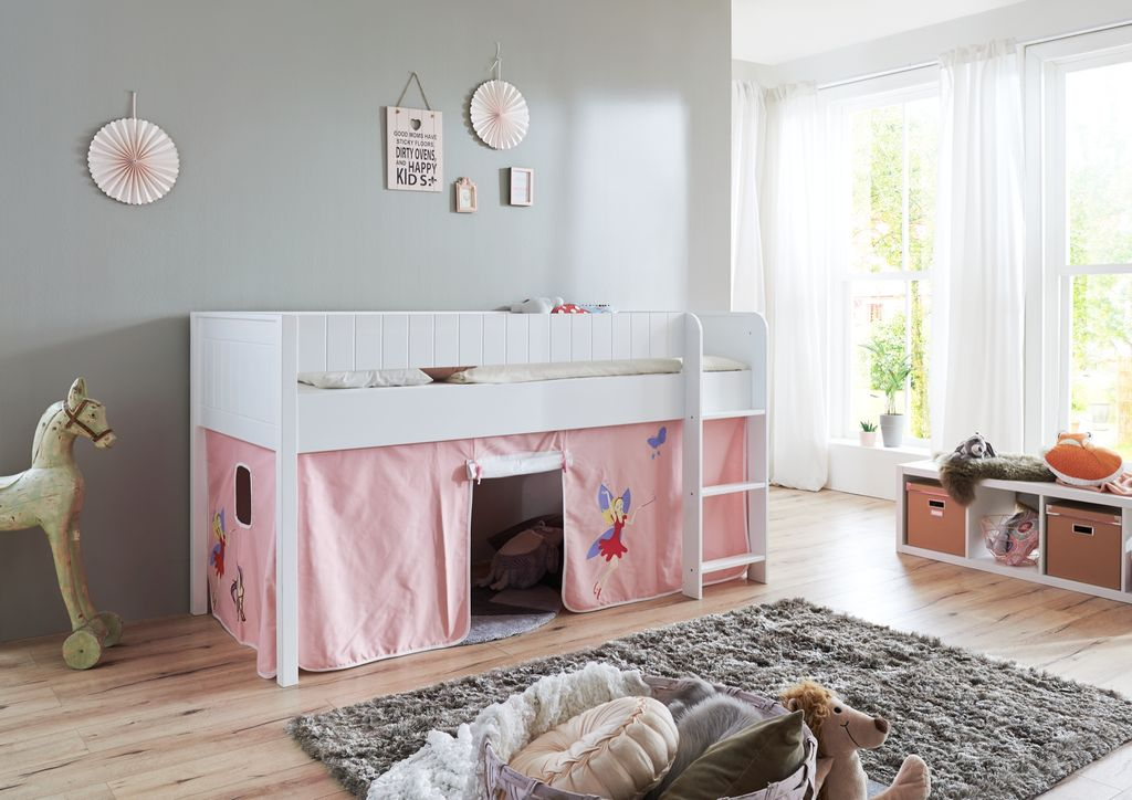 hochbett luka 3 kinderbett spielbett halbhohes bett wei stoffset prinzessin kids teens betten. Black Bedroom Furniture Sets. Home Design Ideas