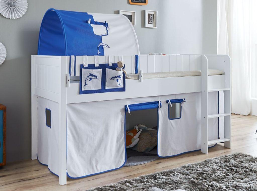 hochbett luka 4 kinderbett spielbett halbhohes bett wei stoffset wei delfin kids teens. Black Bedroom Furniture Sets. Home Design Ideas