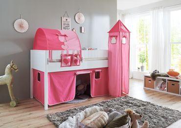 Hochbett LUKA 5 Kinderbett Spielbett halbhohes Bett Weiß Stoffset Pink/Rosa – Bild 2