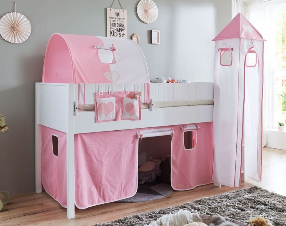 hochbett luka 5 kinderbett spielbett halbhohes bett wei stoffset rosa wei kids teens betten. Black Bedroom Furniture Sets. Home Design Ideas