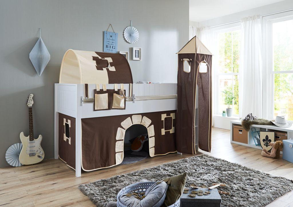 hochbett luka 5 kinderbett spielbett halbhohes bett wei stoffset burg kids teens betten. Black Bedroom Furniture Sets. Home Design Ideas