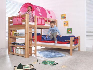 Etagenbett BENI L Kinderbett Spielbett Hochbett Bett Natur Stoffset Pink/Herz – Bild 2