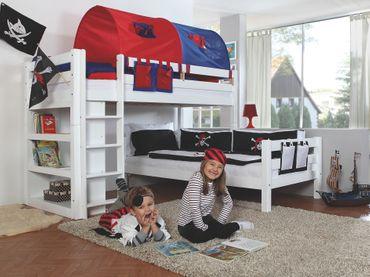 Etagenbett BENI L Kinderbett Spielbett Hochbett Bett Weiß Stoffset Blau/Rot – Bild 2