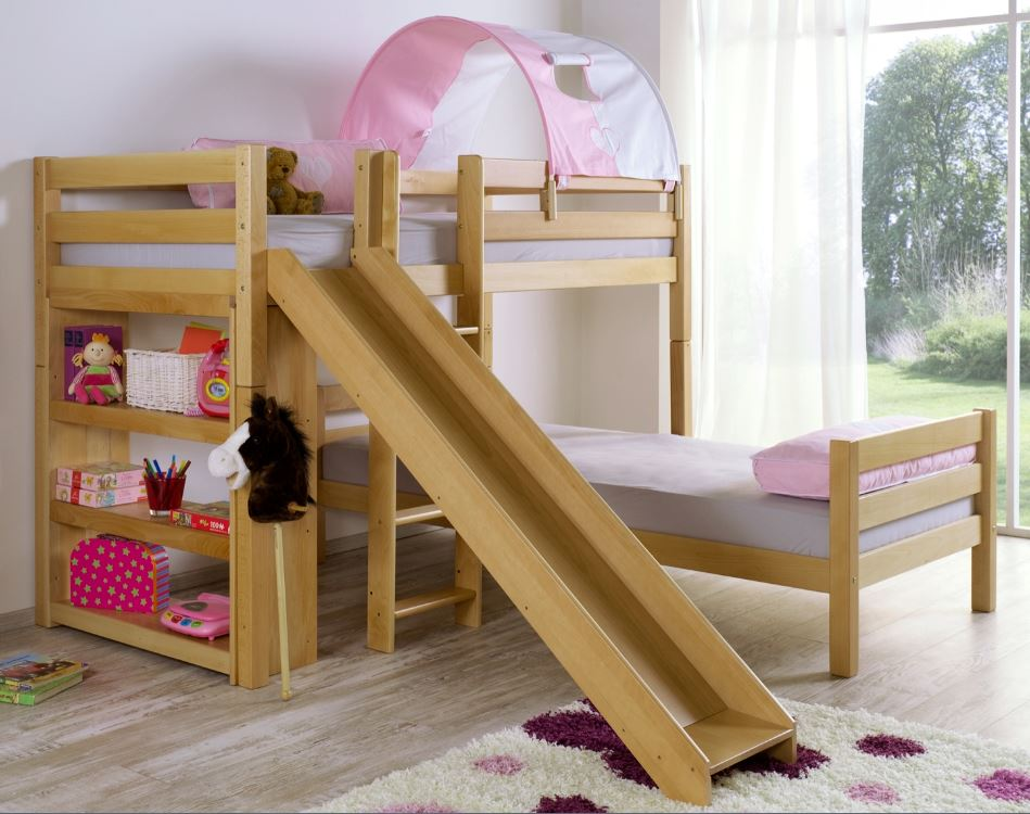 etagenbett mit rutsche beni l kinderbett spielbett bett natur stoff rosa wei ebay. Black Bedroom Furniture Sets. Home Design Ideas