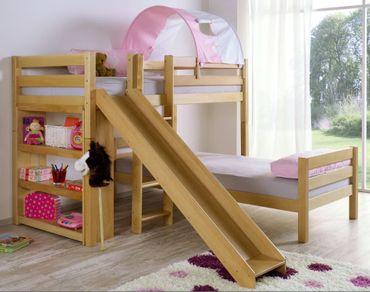 Etagenbett mit Rutsche BENI L Kinderbett Spielbett Bett Natur Stoff Rosa/Weiß – Bild 1