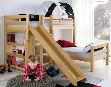 Etagenbett mit Rutsche BENI L Kinderbett Spielbett Bett Natur Stoff Pirat