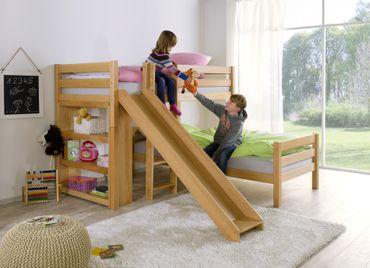 Etagenbett mit Rutsche BENI L Kinderbett Spielbett Bett Natur Stoff Pirat – Bild 3