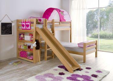 Etagenbett mit Rutsche BENI L Kinderbett Spielbett Bett Natur Stoff Pink/Herz – Bild 2