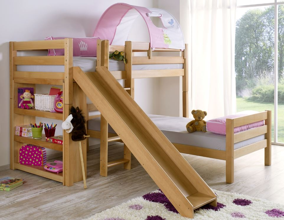 etagenbett mit rutsche beni l kinderbett spielbett bett natur stoff prinzessin kids teens. Black Bedroom Furniture Sets. Home Design Ideas