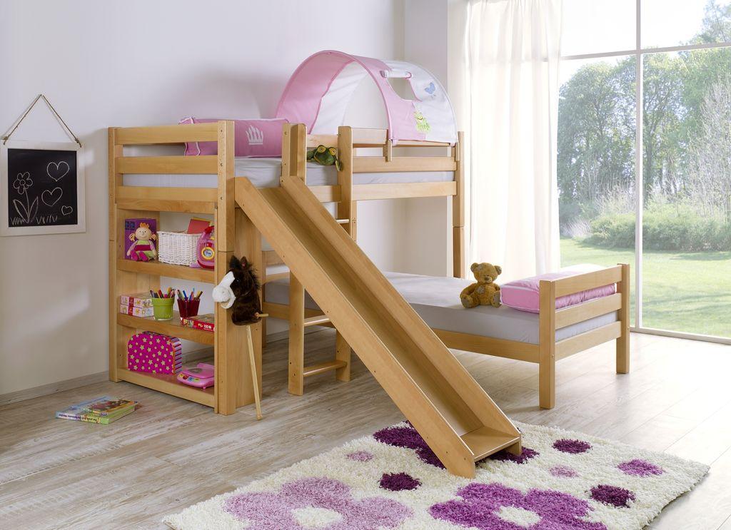 etagenbett mit rutsche beni l kinderbett spielbett bett natur stoff prinzessin kids teens. Black Bedroom Furniture Sets. Home Design Ideas