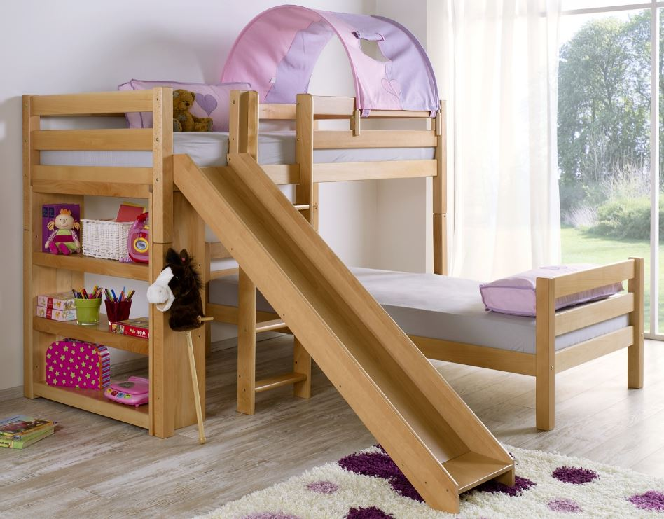 etagenbett mit rutsche beni l kinderbett spielbett bett natur stoff lila rosa kids teens. Black Bedroom Furniture Sets. Home Design Ideas