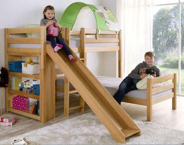 Etagenbett mit Rutsche BENI L Kinderbett Spielbett Bett Natur Stoff Dschungel – Bild 1