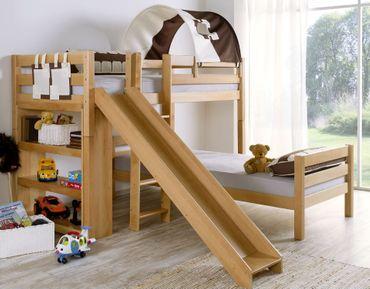 Etagenbett mit Rutsche BENI L Kinderbett Spielbett Bett Natur Stoff Burg – Bild 1