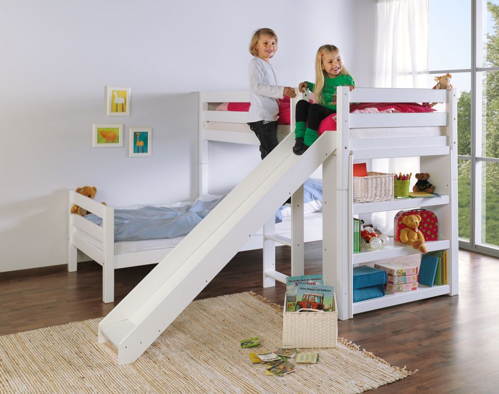 etagenbett mit rutsche beni l kinderbett spielbett bett wei stoff rosa wei 4251418723982 ebay. Black Bedroom Furniture Sets. Home Design Ideas