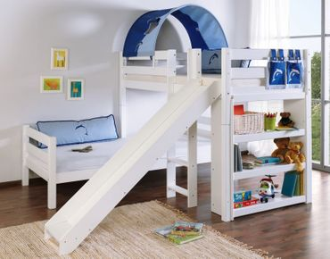 Etagenbett mit Rutsche BENI L Kinderbett Spielbett Bett Weiß Stoff Blau/Delfin – Bild 1
