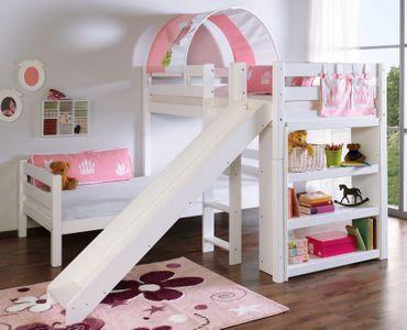 Etagenbett mit Rutsche BENI L Kinderbett Spielbett Bett Weiß Stoff Prinzessin