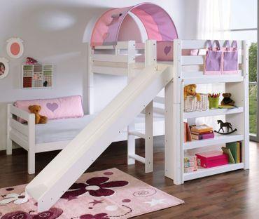 Etagenbett mit Rutsche BENI L Kinderbett Spielbett Bett Weiß Stoff Lila/Rosa – Bild 1