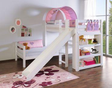 Etagenbett mit Rutsche BENI L Kinderbett Spielbett Bett Weiß Stoff Lila/Rosa – Bild 2
