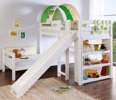 Etagenbett mit Rutsche BENI L Kinderbett Spielbett Bett Weiß Stoff Dschungel – Bild 1