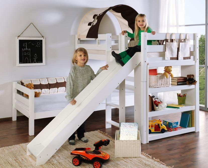 Etagenbett Burg : Etagenbett mit rutsche beni l kinderbett spielbett bett weiß stoff
