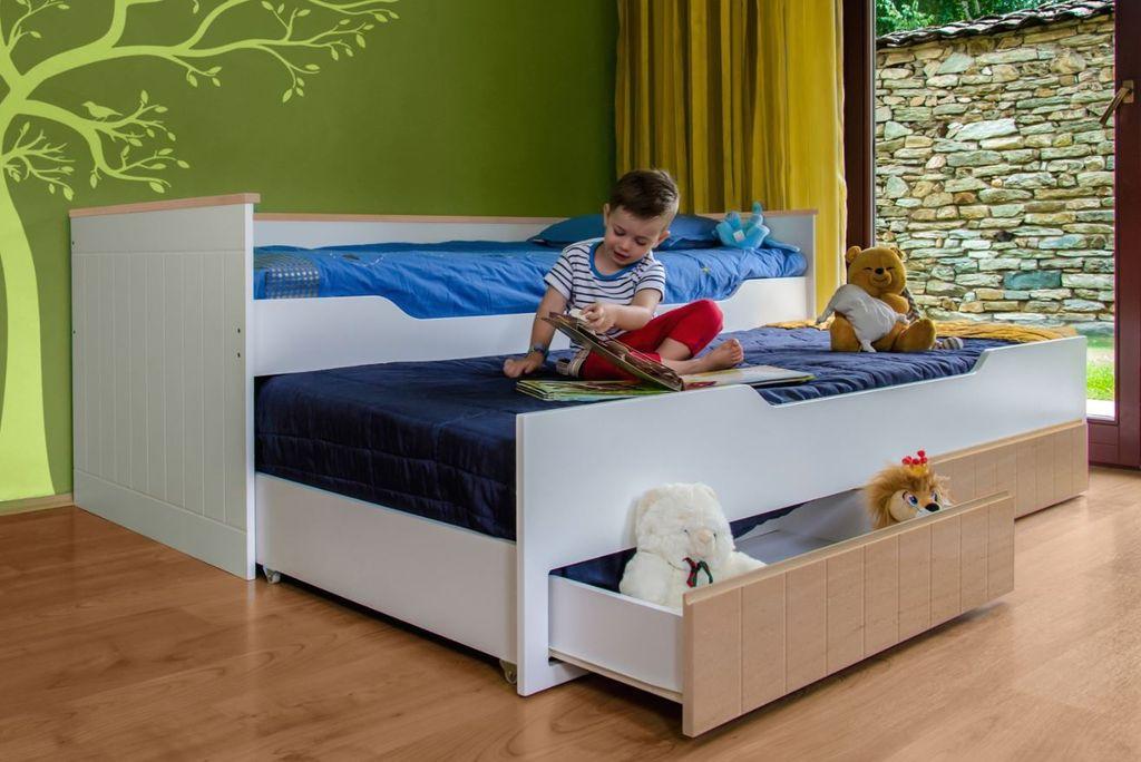 Multifunktionsbett Ronny Kinderbett Kinderzimmer Bett Weiss Buche