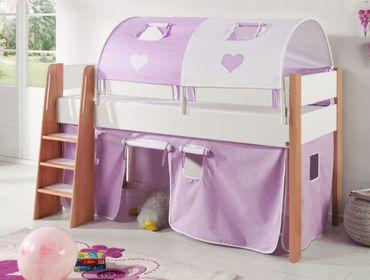Hochbett SAM 3 Kinderbett Spielbett halbhohes Bett Buche Weiß Stoff Lila/Weiß