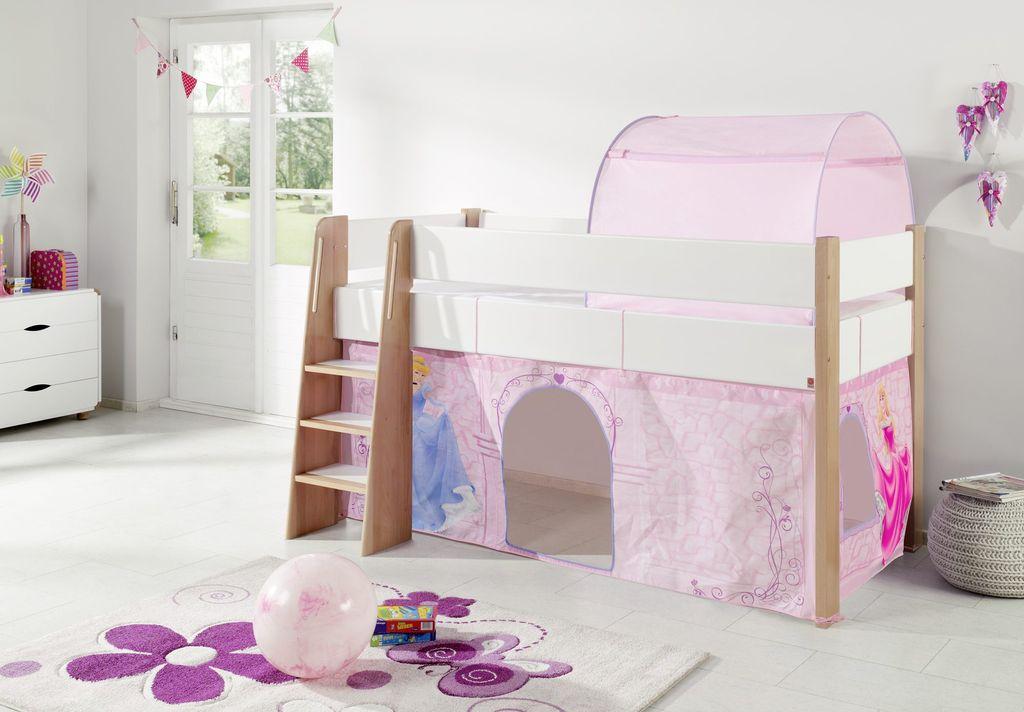 hochbett sam 2 kinderbett spielbett halbhohes bett buche wei stoff cinderella kids teens. Black Bedroom Furniture Sets. Home Design Ideas