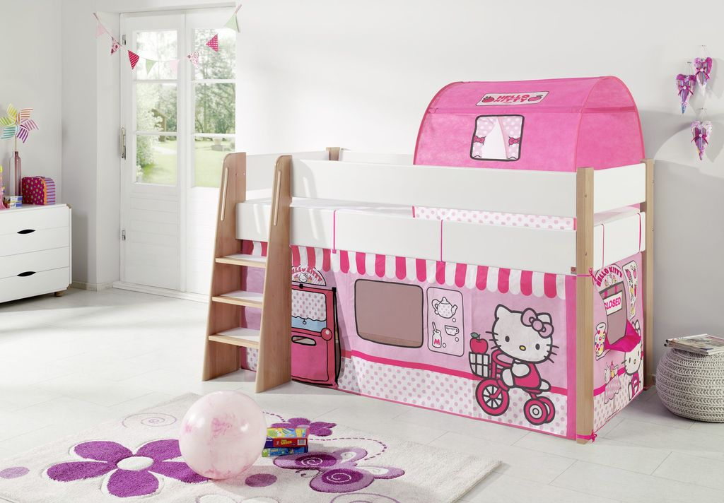 hochbett sam 2 kinderbett spielbett halbhohes bett buche wei stoff hello kitty kids teens. Black Bedroom Furniture Sets. Home Design Ideas