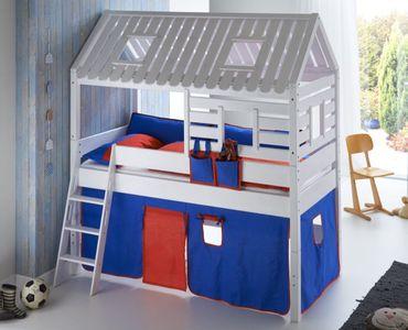 Hochbett Tom´s Hütte 2 Kinderbett Spielbett Bett Weiß Stoffset Blau/Rot