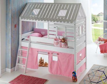 Hochbett Tom´s Hütte 2 Kinderbett Spielbett Bett Weiß Stoffset Rosa/Weiß – Bild 1