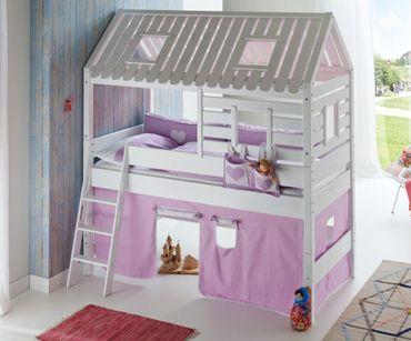 Hochbett Tom´s Hütte 2 Kinderbett Spielbett Bett Weiß Stoffset Lila/Weiß