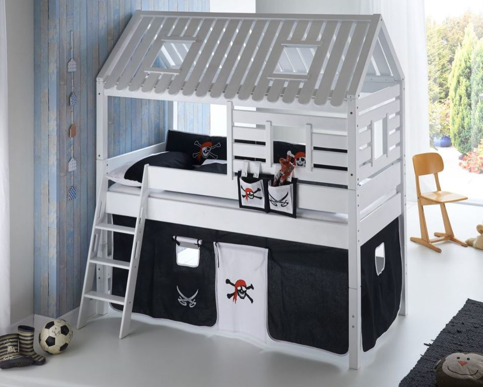 hochbett tom s h tte 2 kinderbett spielbett bett wei. Black Bedroom Furniture Sets. Home Design Ideas