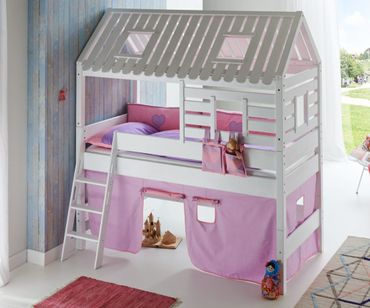 Hochbett Tom´s Hütte 2 Kinderbett Spielbett Bett Weiß Stoffset Lila/Rosa – Bild 1