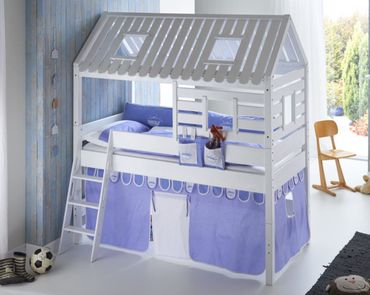 Hochbett Tom´s Hütte 2 Kinderbett Spielbett Bett Weiß Stoffset Blau/boy