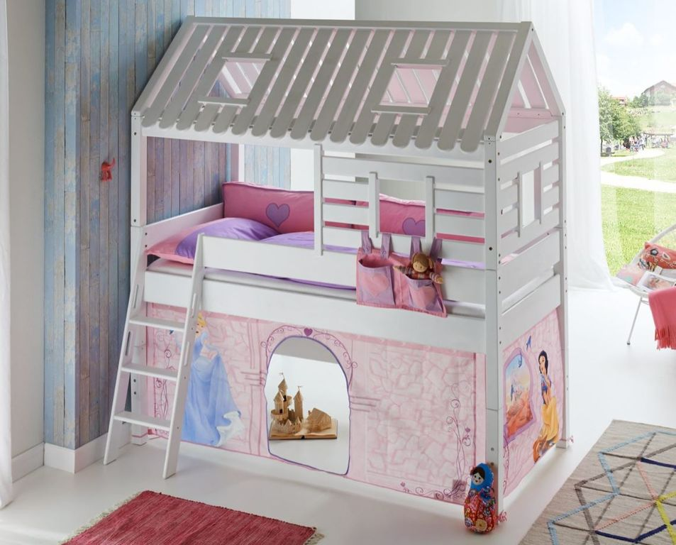 hochbett tom s h tte 2 kinderbett spielbett bett wei stoffset cinderella ebay. Black Bedroom Furniture Sets. Home Design Ideas