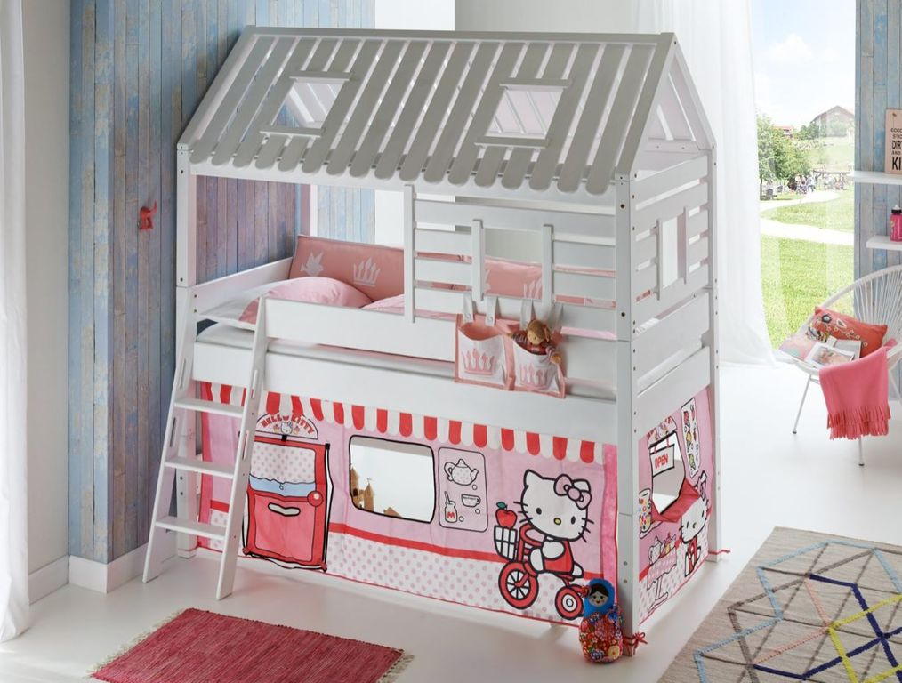 hochbett tom s h tte 2 kinderbett spielbett bett wei stoffset hello kitty ebay. Black Bedroom Furniture Sets. Home Design Ideas