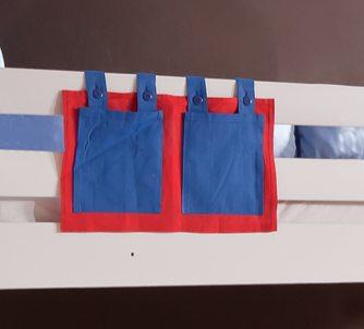 Stofftasche Seitentasche Hängetasche für Hochbett Etagenbett Blau/Rot