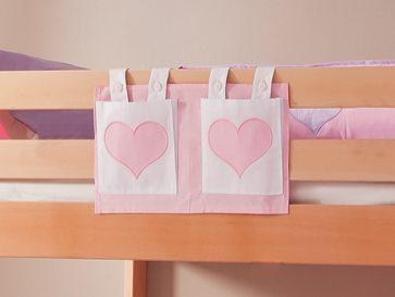 Stofftasche Seitentasche Hängetasche für Hochbett Etagenbett Rosa/Weiß